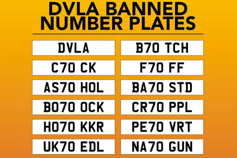 Banned Number Plates
